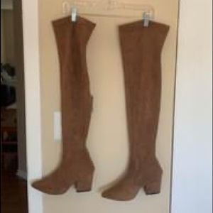 Over the knee brown suede boots